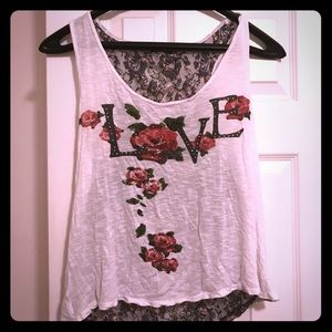 White Love Distressed Tank